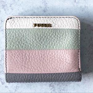 Fossil Bi Fold Leather Wallet Color Block